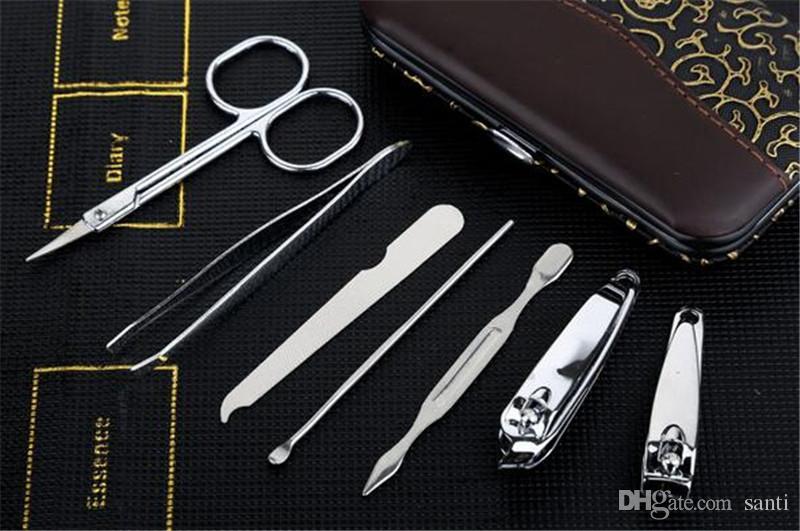 7pcs/set Manicure set Professional Stainless Steel Nail Clipper Kit Finger Plier Nails art Pedicure Toe Nail Tools Set