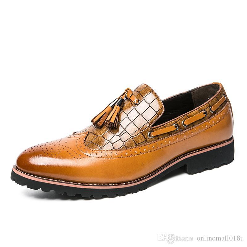 Primavera otoño zapatos de vestir de los hombres cómodos zapatos de hombre zapatos formales elegantes gentiles hombres Oxfords moda