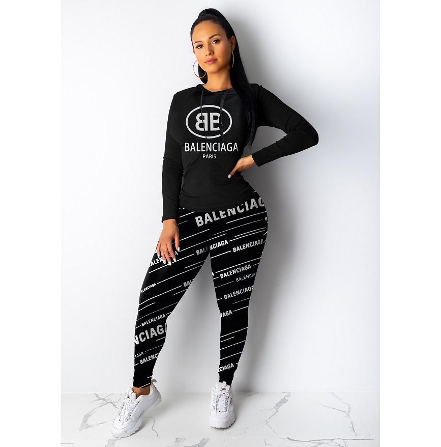 النساء مصمم أزياء رياضية فاخرة مجموعة ملابس كم طويل بلايز + سروال اثنين من قطعة مجموعة نساء السببية طباعة رياضية