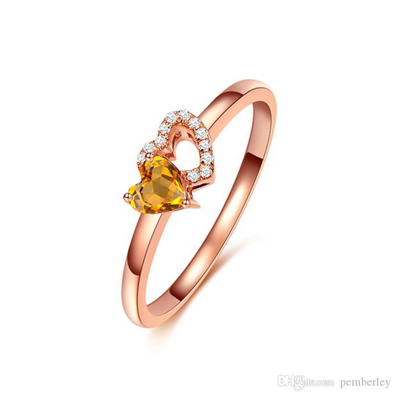 R447 luxe bagues bijoux femme New Style or rose bagues pour femmes Champagne coeur de cristal d'or filles aiment