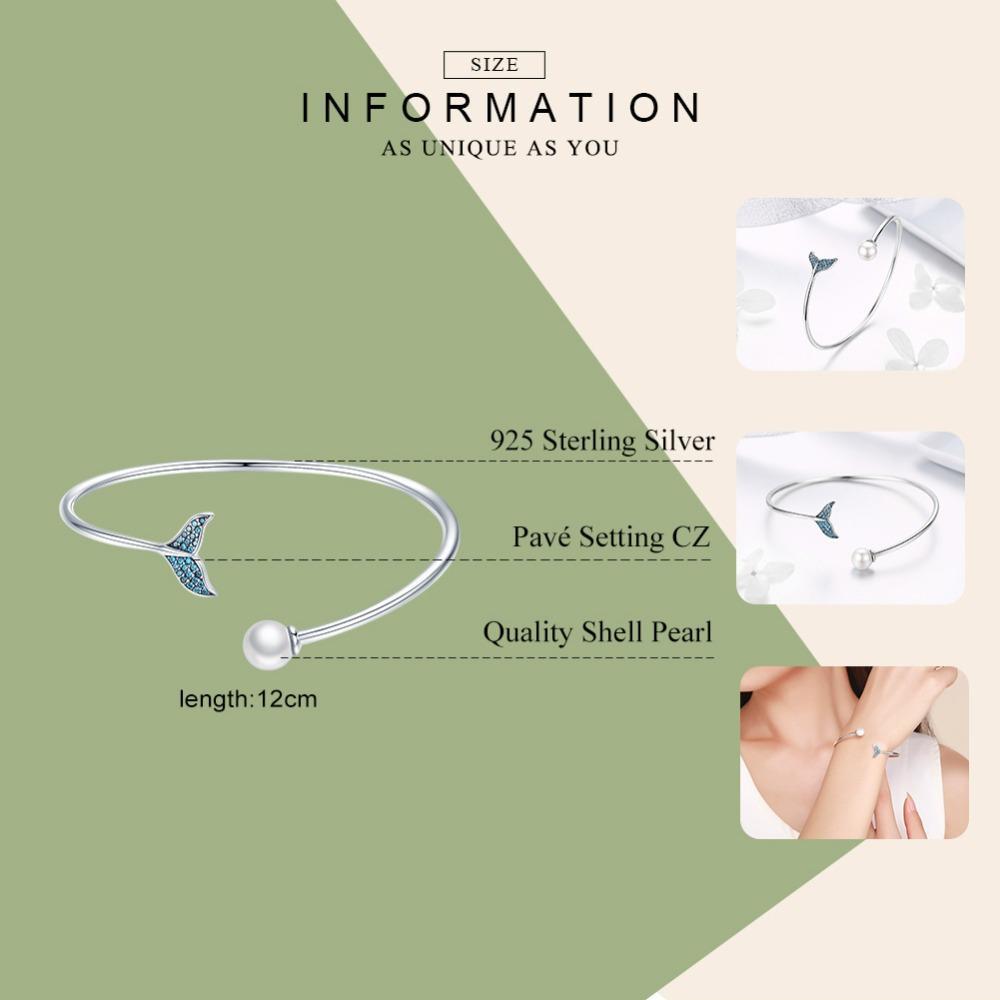 WOSTU di alta qualità in argento sterling 925 della sirena lacrime perle bracciali open size amicizia bracciali per le donne gioielli cqb123