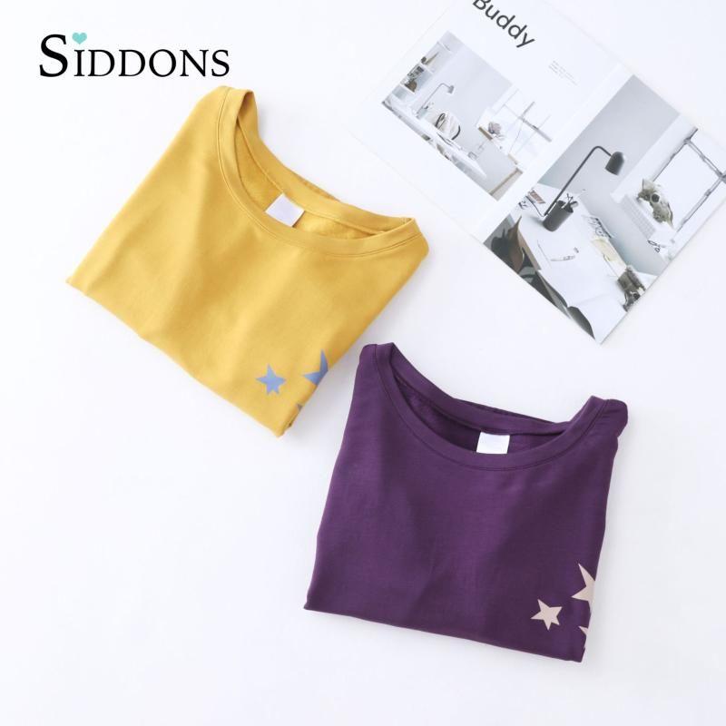 Donna cotone morbido Siddons Pajamas Set 2 pezzi Sleepwear Plus Size semplice Maniche lunghe Donna Autunno Inverno Homewear casual