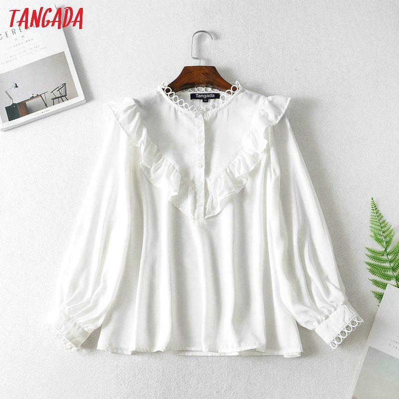 Tangada kadınlar beyaz gömlek uzun katı o-boyun zarif ofis bayanlar iş elbisesi FN114 bluzlar manşonlu fırfır