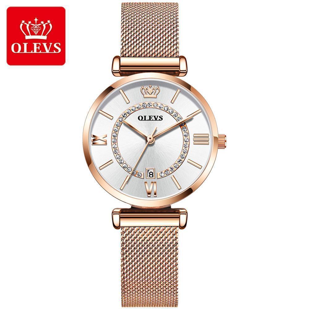 OLEVS marca de relojes suizos-certificado, conjunto tendencia de la moda con el reloj de diamantes de cuarzo resistente al agua, las señoras de Rose del reloj de oro femenina