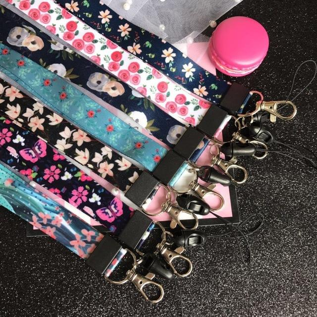 Cheap Mobile Phone Straps 10Pcs/lot Rose Flower Neck Strap Lanyards for keys ID Card Gym Mobile Phone Straps USB badge holder DIY