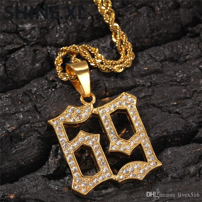 White Gold-Tone Hip Hop Bling Iced Out Round Baguette Stone Spinner Pendant with 24 Rope Chain
