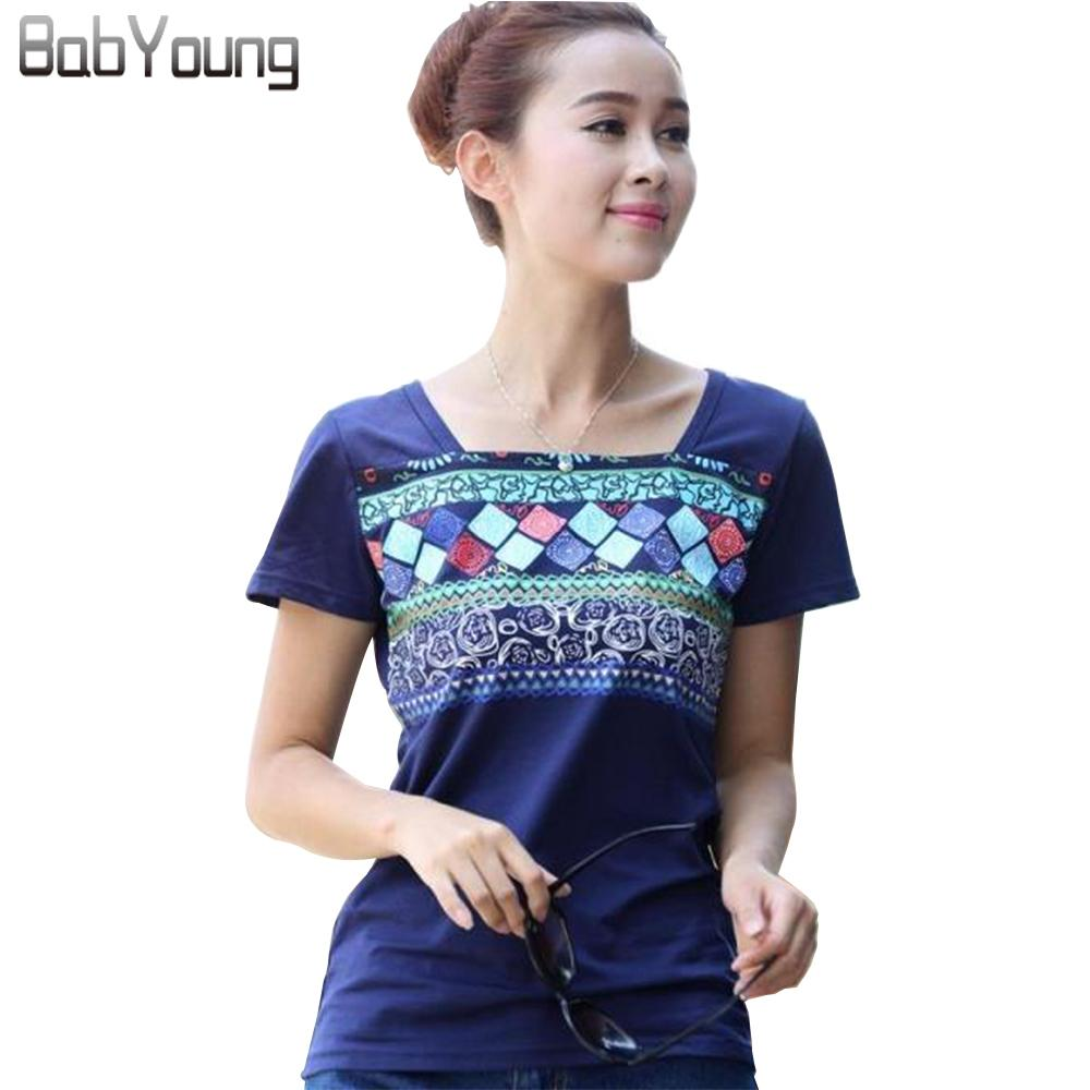 Babyoung Summer Tops For Women T-shirt Slash Neck Geometric Shirt Bohemia Cotton Tee Shirts Femme Camisetas Mujer Plus Size Blue Y19072701