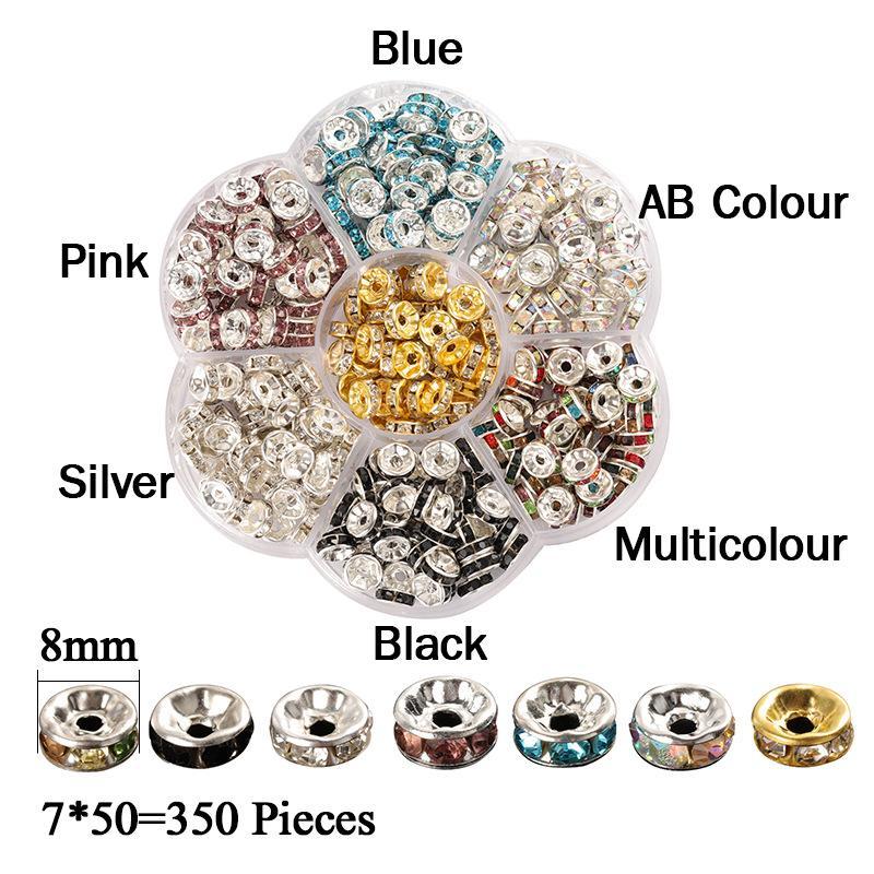 350Pcs / Set Rhinestone Spacers Beads 8mm Fit Women DIY Jewely Findings Making Bracel Arrings Beed Material Superiques