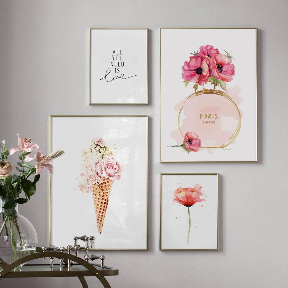 파리 향수 꽃 아이스크림 벽 예술 캔버스 수채화 북유럽 포스터를 그림과 인쇄 벽 사진을 거실 장식