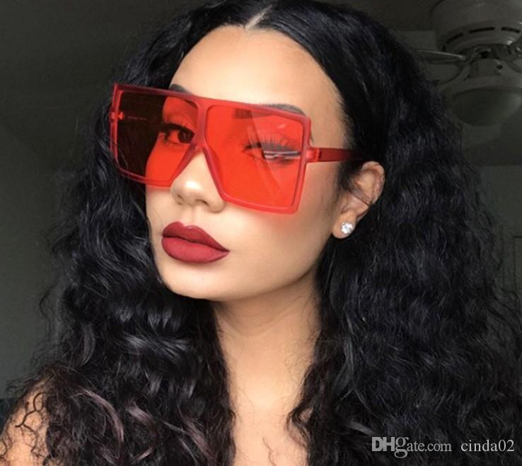 المتضخم ساحة نظارات شمسية نسائية الأزياء شقة الأعلى ملونة واضح عدسة النظارات الشمسية خمر الرجال Gafas نظارات