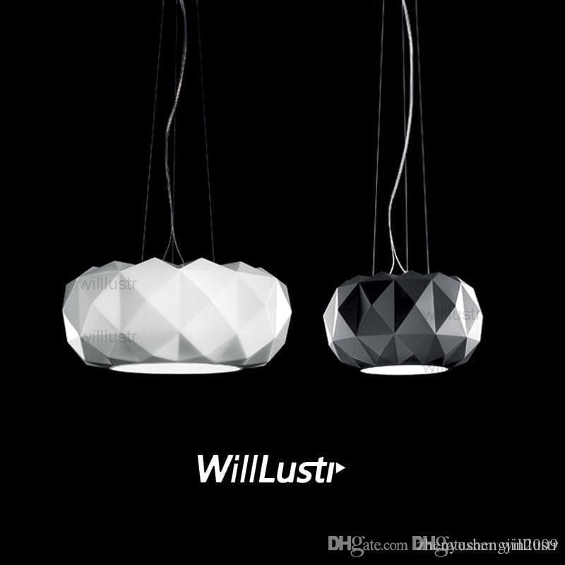 Willlustr Murano Muranodue Leucos lüks kolye lamba siyah beyaz cam elmas aydınlatma otel restoran kafeterya süspansiyon ışık nedeniyle
