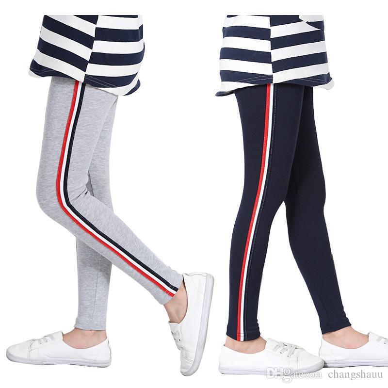 Fashion Spring Girls Leggings Autumn Sports Cotton Girls Leggins Vertical Stripe Toddler Kids Sport Pants 3-13 Years