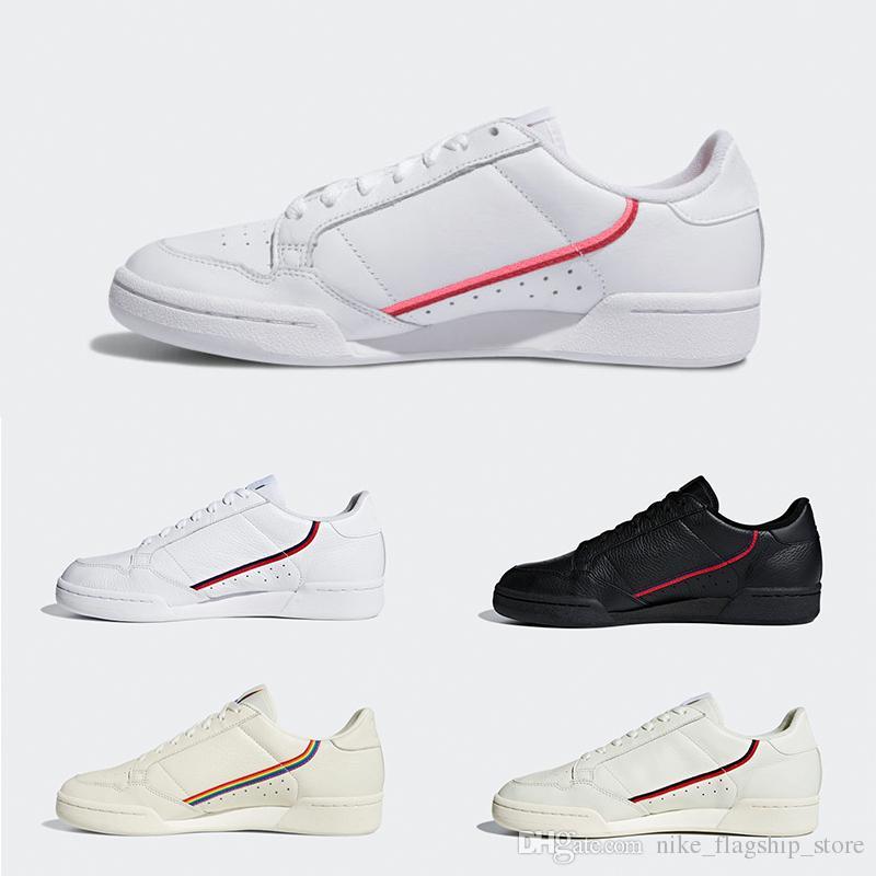 Acheter 2019 Adidas New Continental 80 Femmes Rose Hommes Noir Blanc Fierté Chaussures Décontractées Kanye West OG Blanc Hommes Femmes Blanc Beige