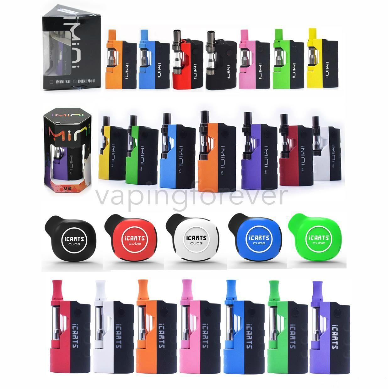 Original E Cigarette Box Mod Kit Imini V1 Imini V2 iCarts Cubo iCarts V2 Kit Completo Vape Mod Kit Várias Cores Disponíveis