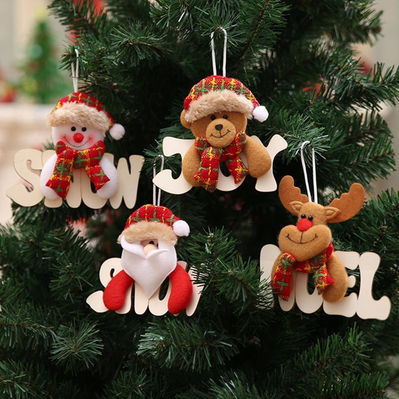 4шт деревянные алфавит подвески елочные украшения висячие украшения санта клаус снеговик лось медведь новогодний декор рождество