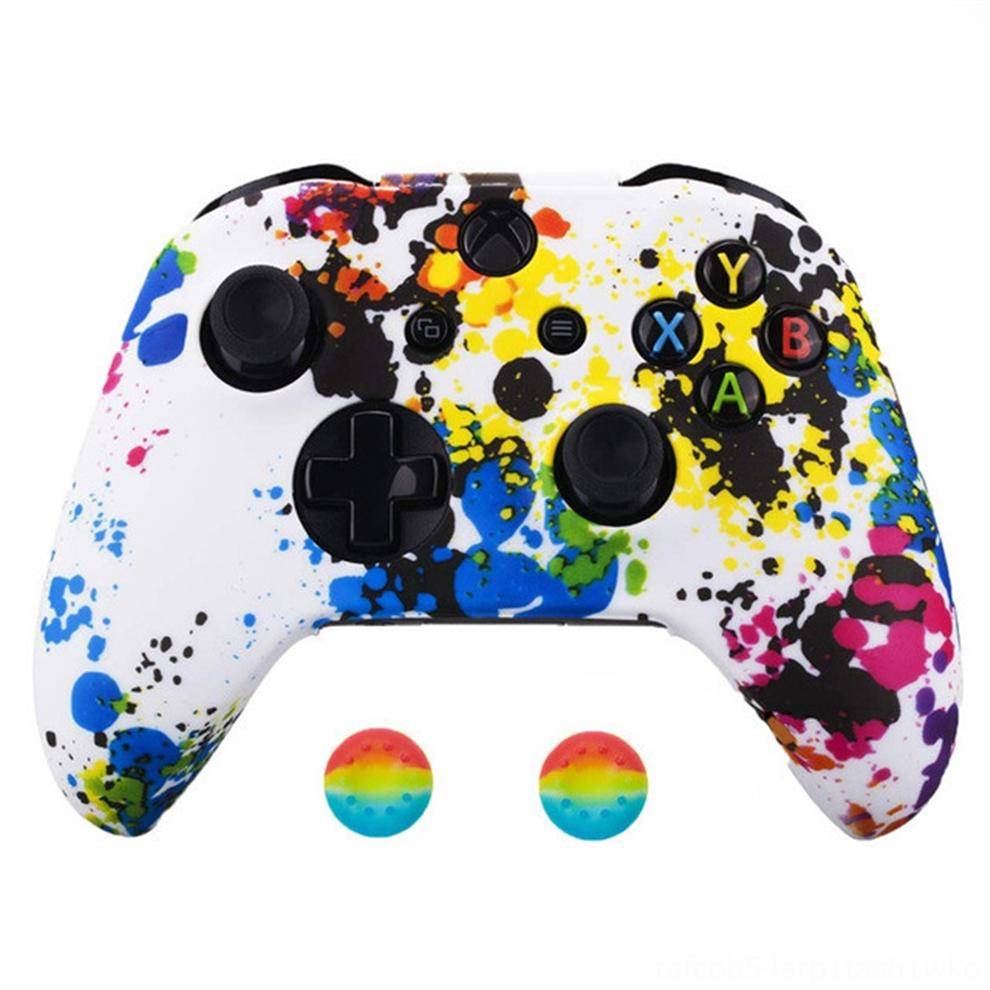 bsvGG For Xbox One S X Controller Silicone Soft Case Cases Rubber Gamepad Skin Printing Comfortable Joystick Cover & 2 Analog Caps