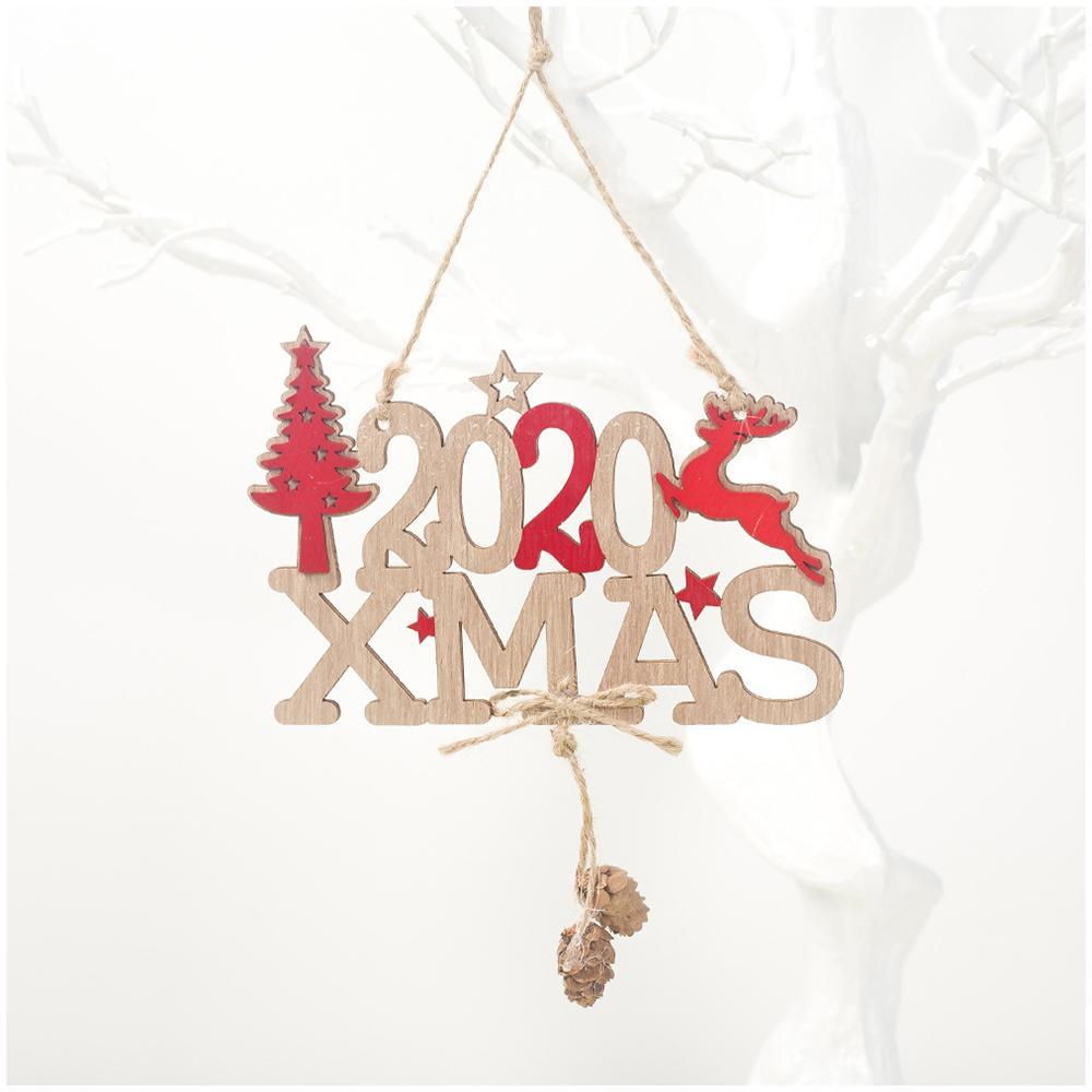 2020 Xmas Christmas Tree Hanging OrnamentXmas Wooden Ornament Christmas Decoration Pendant New Year Home Decoration