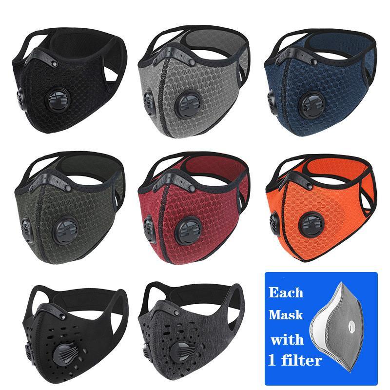 Ciclismo Máscara Facial Máscaras Esporte treinamento ao ar livre PM2.5 Anti-poeira poluição Defesa Correndo Máscara Filtro de carbono ativado máscara lavável