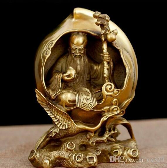 Chinese Fengshui Messing Xiantao Gott der Langlebigkeit Mandschurenkranich Statue