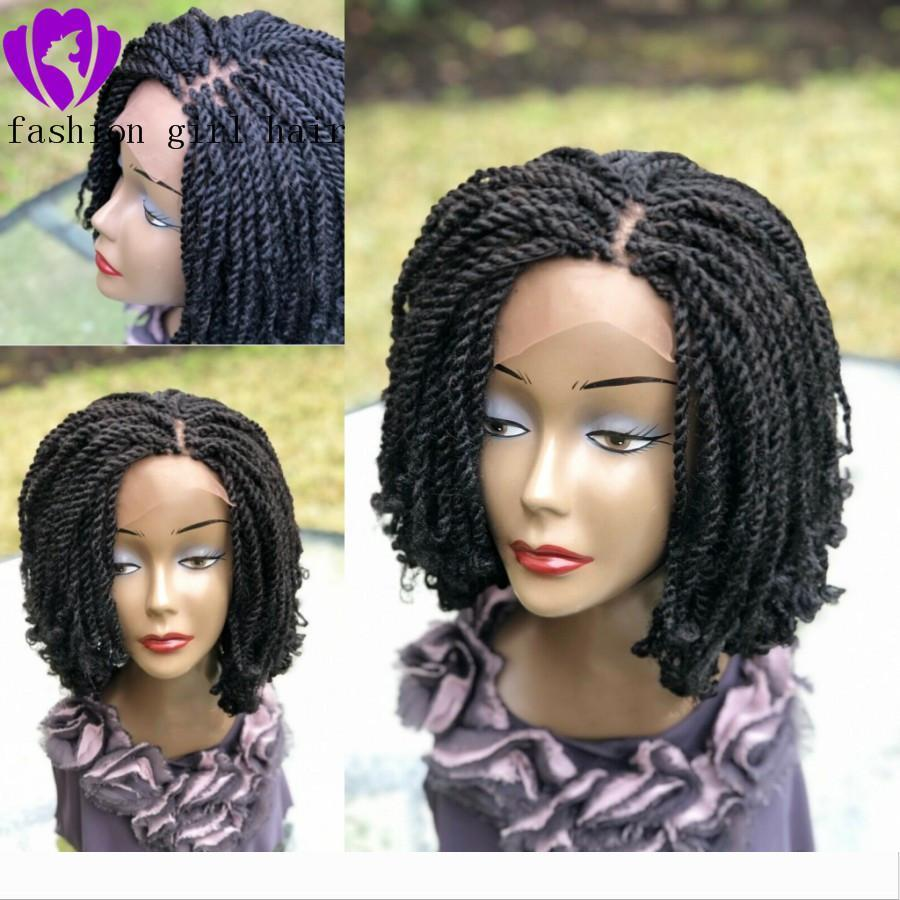 Handmade Kinky Curly Twist Braids Wig black brown blonde color short braided lace front wig for African women