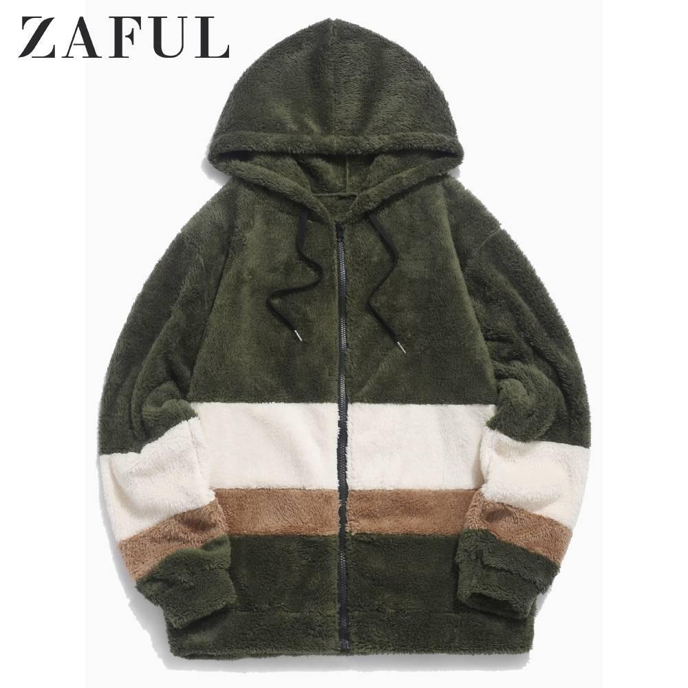Automne ZAFUL hommes Colorblock épissé fausse fourrure Fluffy Veste à capuche manches longues à capuche Zip Jacket épissé Streetwear