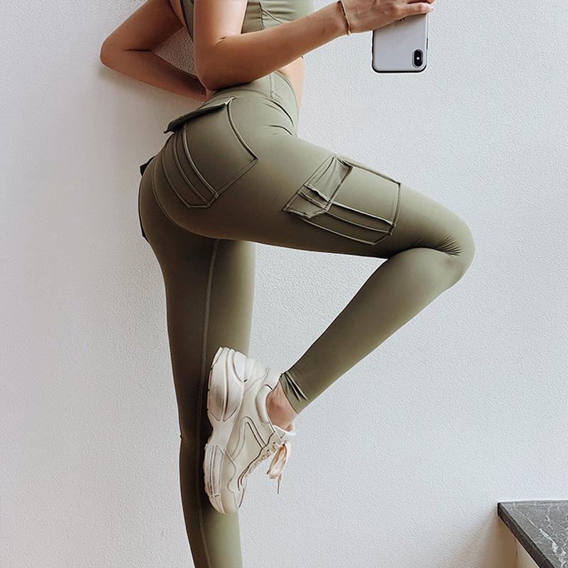 Cepler ile Yüksek Bel Legging Egzersiz Spor Kıyafeti Butt Yoga Pantolon Spor Kadın Spor Tayt Flex Booty Sweatpants