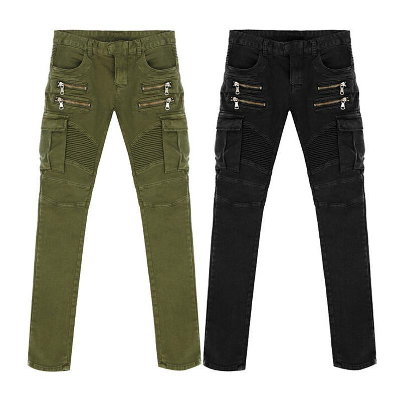 Denim Jeans Vert Noir Moto Biker Hommes Skinny Slim élastique Jeans Hiphop Washed New Hot Fashion bien