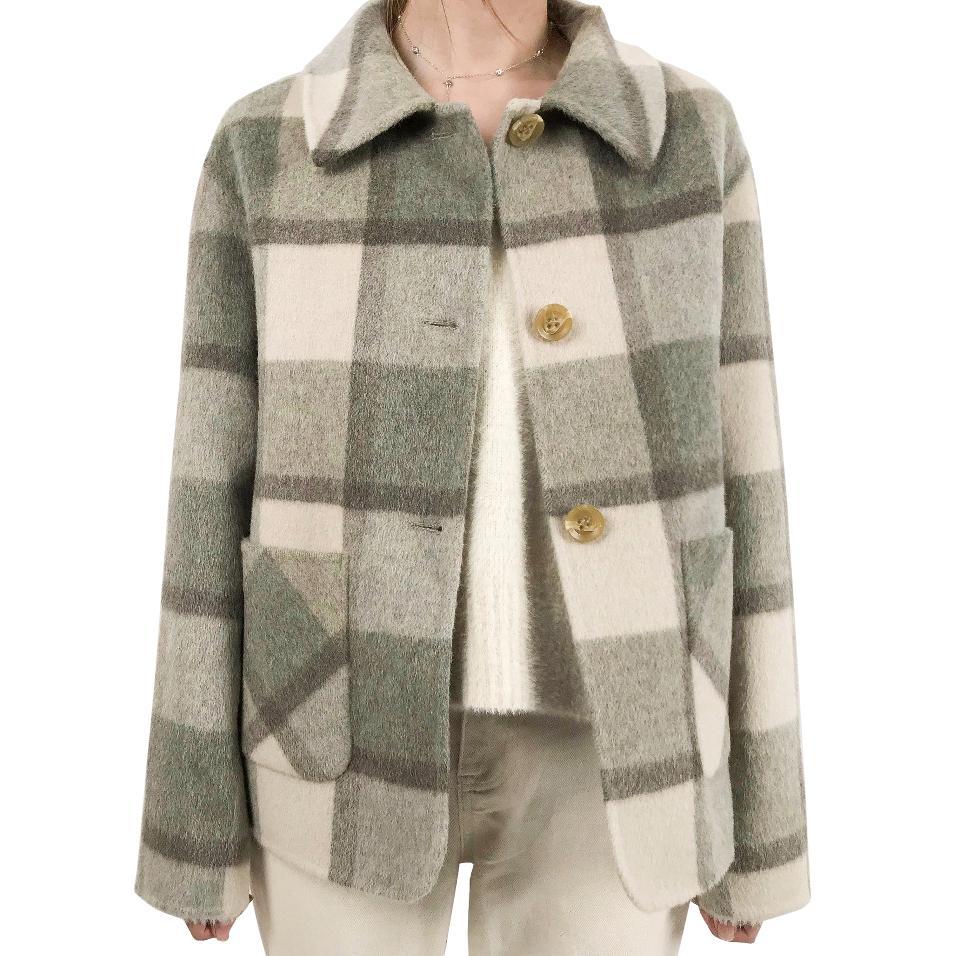السترات الشتوية الدافئة المرأة منقوشة صوف الأغنام الألبكة معاطف امرأة الإناث المعتاد معطف الصوف معطف جاكيتات السيدات قميص
