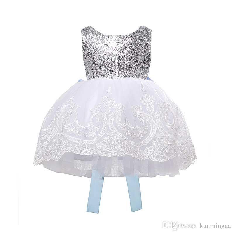Il bambino scherza vestiti della ragazza di abiti del merletto di Bowknot del partito floreale formale damigella d'onore di sfera sveglia ragazze vestono nuovo arrivare