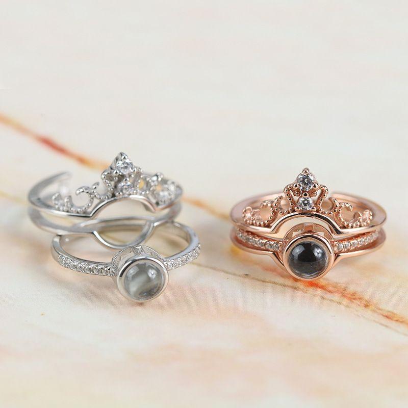 """100 novas línguas """"eu te amo"""" memória coroa casal anéis de ouro rosa anel de casamento de noivado set 925 sterling silver jóias mulheres j 190515"""