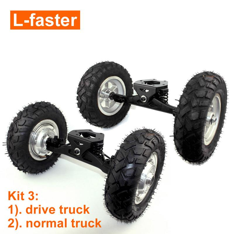 L-faster 36V Mountain Skateboard Hub Motor Truck Off Road Skateboard Hub Motor Wheel With 9x3.50-5 Tire
