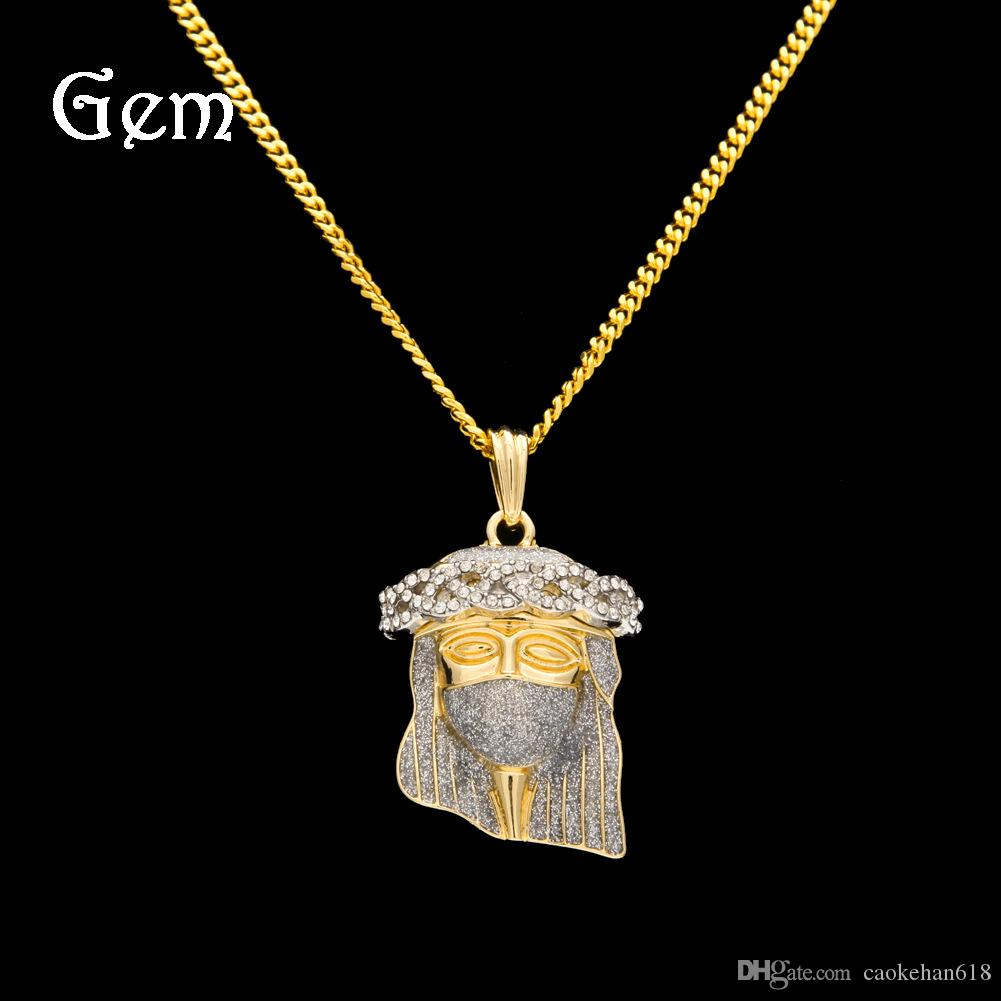 New Men's 18K Gold Diamond Necklace Fashion Gold Necklace Jesus Diamond Pendant Necklace Men's Jewelry Free Shipping