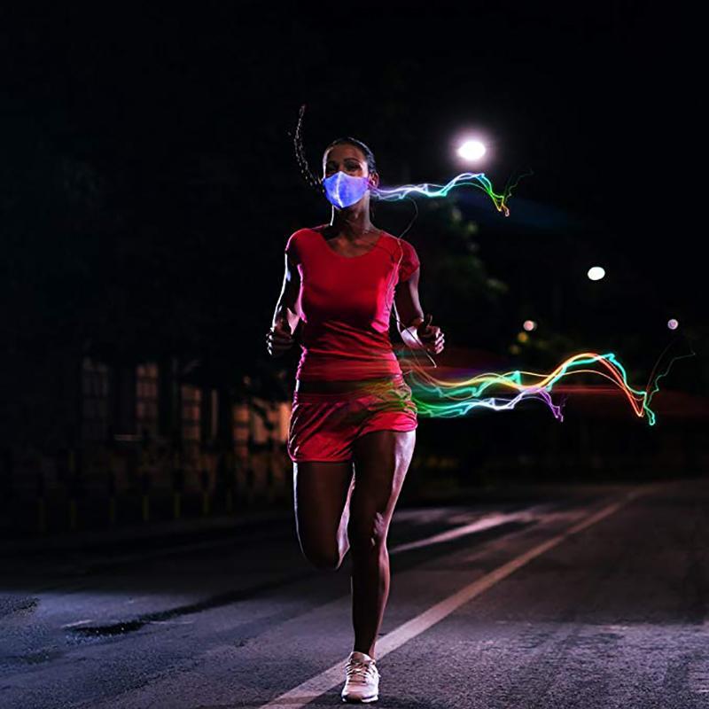 Уникальный Хэллоуин LED Mask Light Up Party Mask Chargeable Хэллоуин фестиваль пыле Светящиеся танец костюм Светящиеся в темноте /