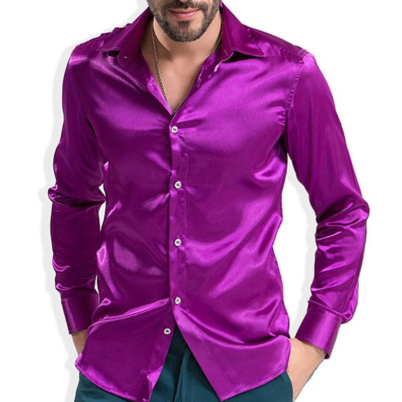 Fashion Shiny Silky Satin Dress Shirt Luxury Silk Like Long Sleeve Mens Casual Shirts Performance Stage Wear MX200518