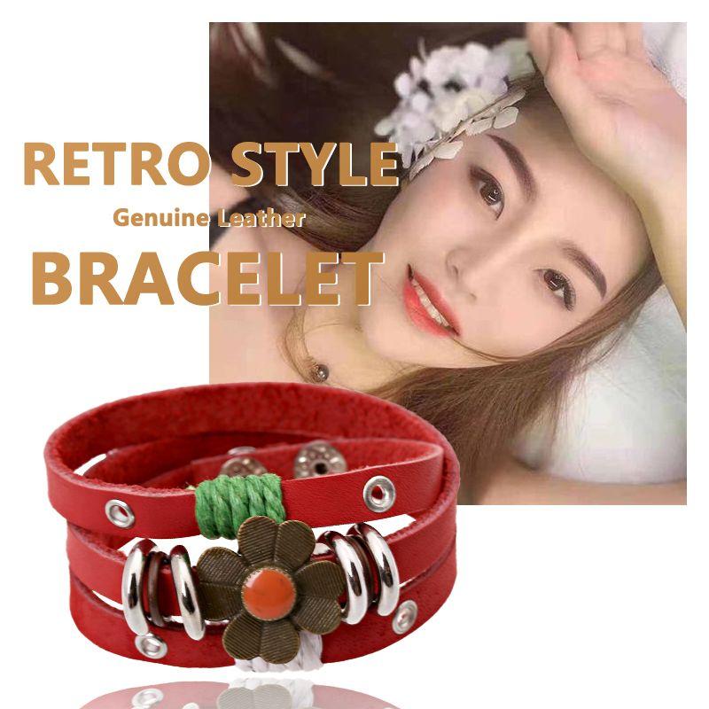 2020 Fashion Women Leather Bracelet 3 Stands Red Genuine Leather Alloy Flower Charm Bracelets 2.5CM Wide Wrap Hand Bracelets