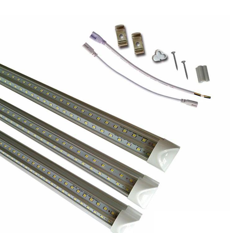 Stock In US Integrated T8 LED Tubes V-Shaped Cooler Door LED bulbs 4ft 5ft 6ft 8ft led replacement for fluorescent tube lighting CRESTECH