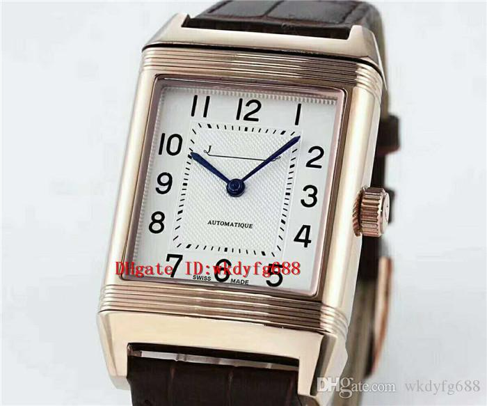 qualidade Clássico Rose Gold REVERSO clássico Retângulo Mens Watch Top suíço Árabe automática numerais de cristal de safira Designer relógios