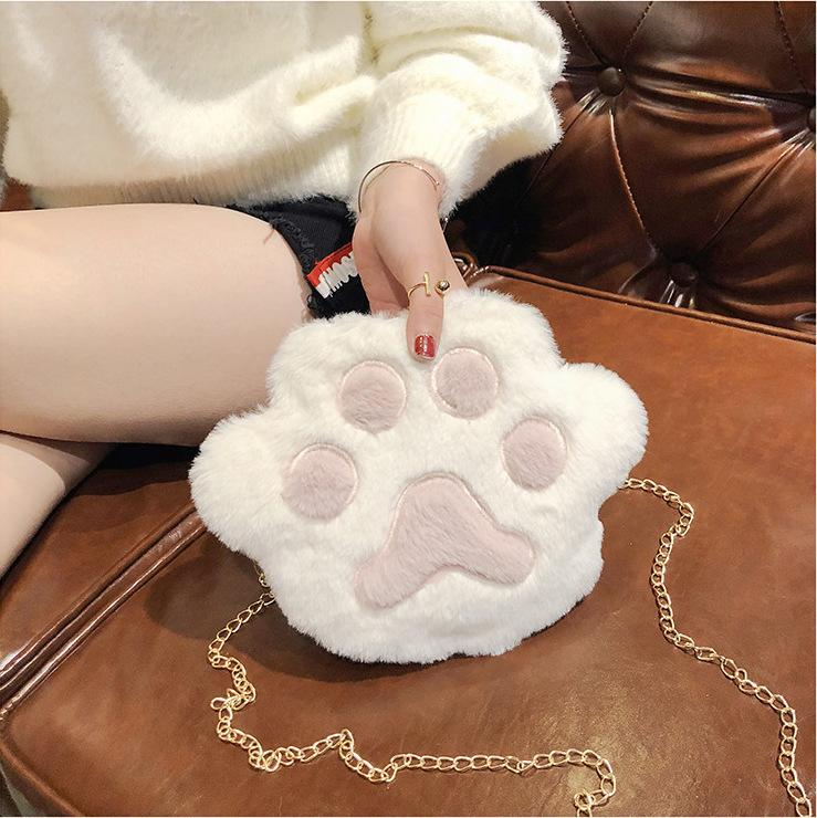 Pretty2019 Bear Lint Paw Cartoon Plush Sprout Fresh Cat's Claw Soft Sister Single Shoulder Satchel Student Small Change Mobile Phone Baby