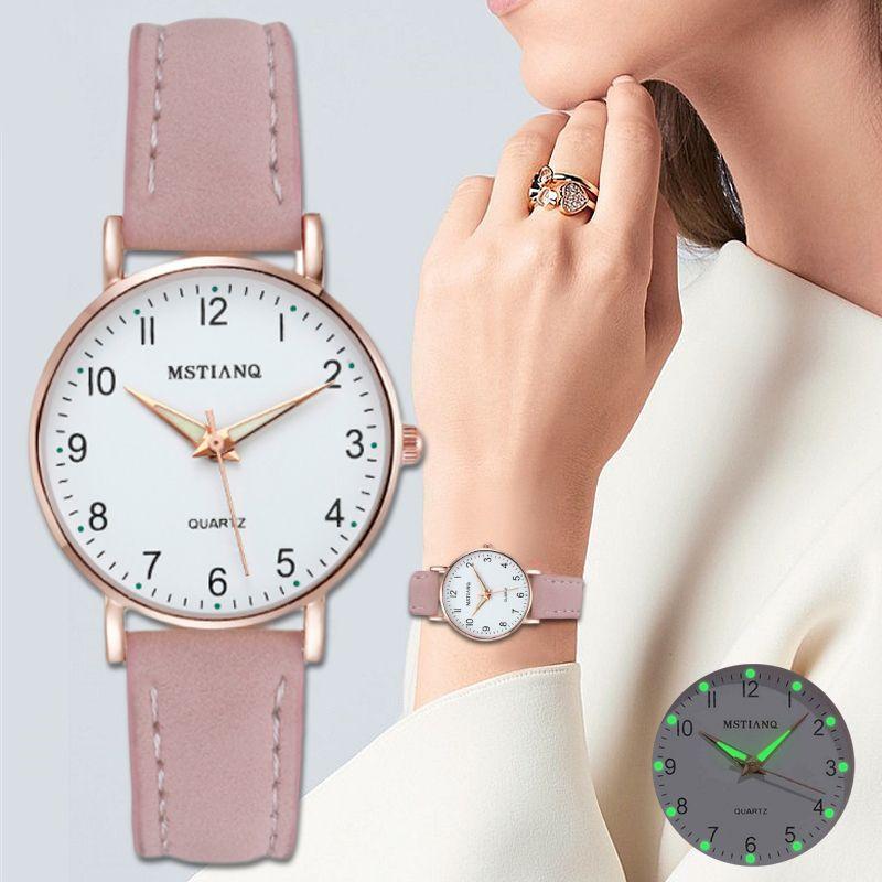 2020 YENİ Kadınlar İzle Moda Casual Deri Kemer Saatler Basit Bayanlar Küçük Quartz Saat Elbise saatı Dial