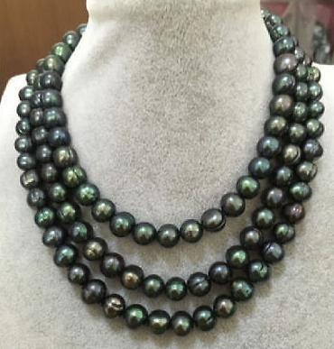Великолепные 11-12mm натуральный таитянского павлина зеленый жемчужное ожерелье 48 дюймов 14K золота Застежка