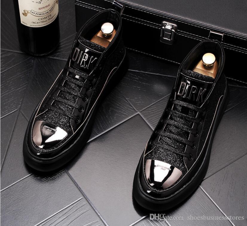 Haut de la qualité des hommes haut Top style britannique Hommes Chaussures causales Chaussures de luxe blanc rouge fond en caoutchouc Chaussures pour Casual Male Bottines