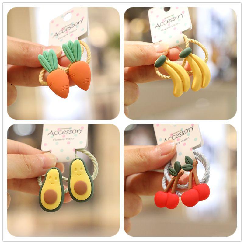 2Pcs Wholesale Cute Fruit Avocado Watermelon Princess Headwear Kids Elastic Hair Bands Ropes Girls Accessories Baby Headdress