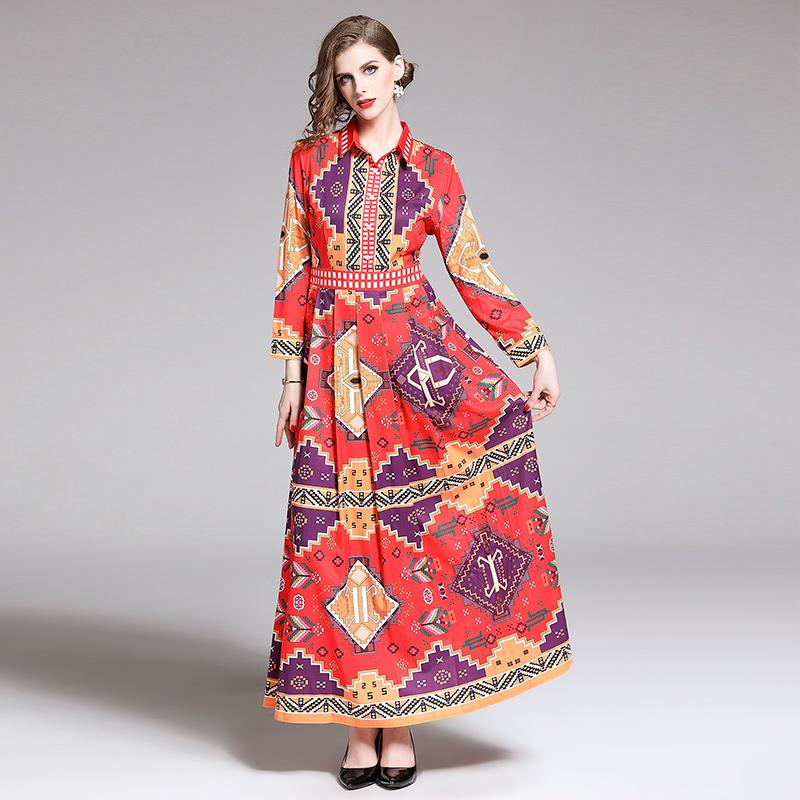 2019 New Fashion Designer Maxi Runway Dress Long Sleeve Womens Turn Down Collar Geometric Print Vintage Long Vacation Dresses Evening Dresses Plus Size Teen Party Dresses From Wenshicu 31 59 Dhgate Com