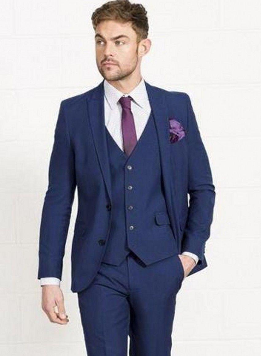 Brand New Navy Blue Groom Tuxedos Two Button Groomsmen Mens Wedding Dress Popular Man Jacket Blazer 3 Piece Suit(Jacket+Pants+Vest+Tie) 885