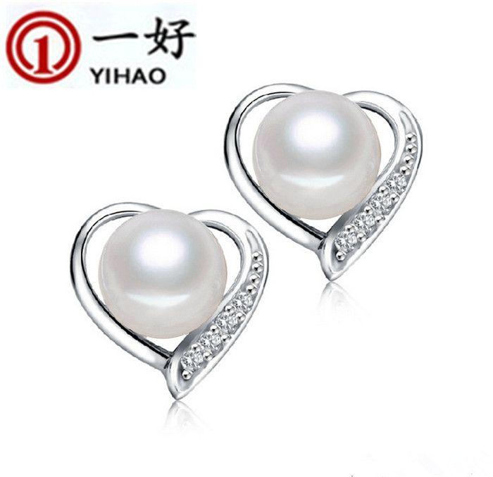 2016 new shell pearl earrings in Sterling Silver with 925 cubic zirconia heart-shaped pearl stud earrings