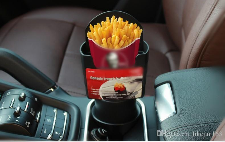 Automotive Car Interior Cup French Fries Holder Fast Food Drink Beverage Cell Phone Mount Storage Black