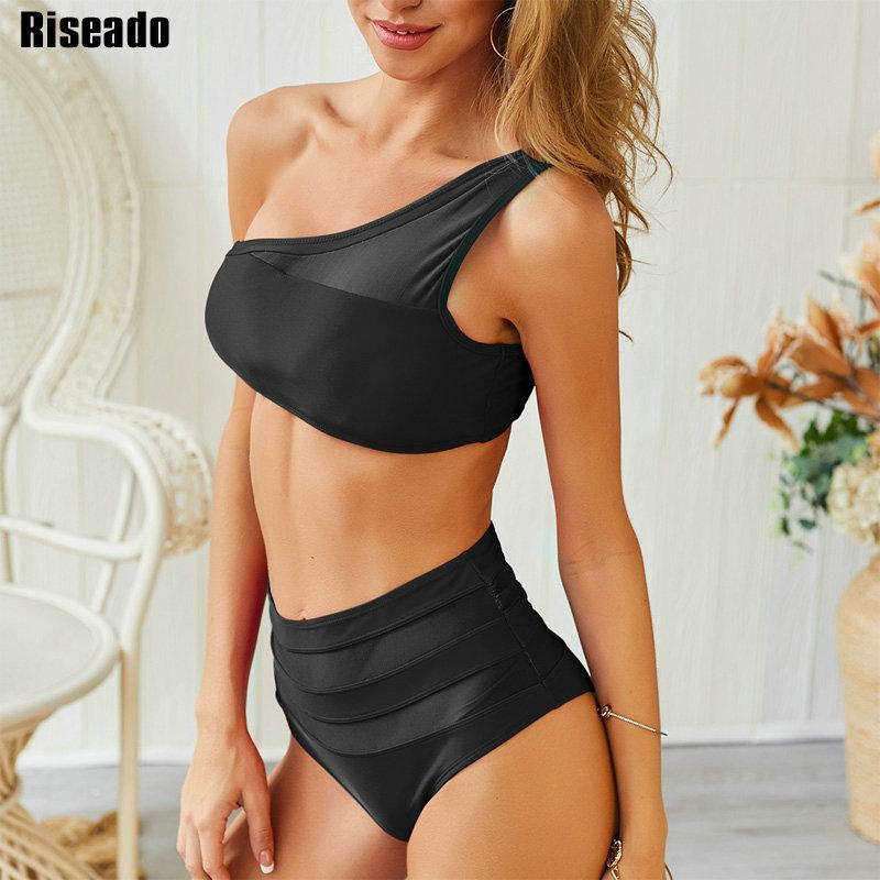 Riseado spalla di nuovo bikini sexy della maglia del costume da bagno delle donne spinge verso l'alto Costumi da bagno Solid vita alta Biquini Summer Beach Wear LY191224
