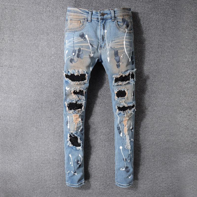 20SS Mens Designer Jeans Уличной европейский и американский стрит Tide AMIR Jeans Амирите Повседневный Hip Hop Омывается синим Ripped прямых джинсов # 523