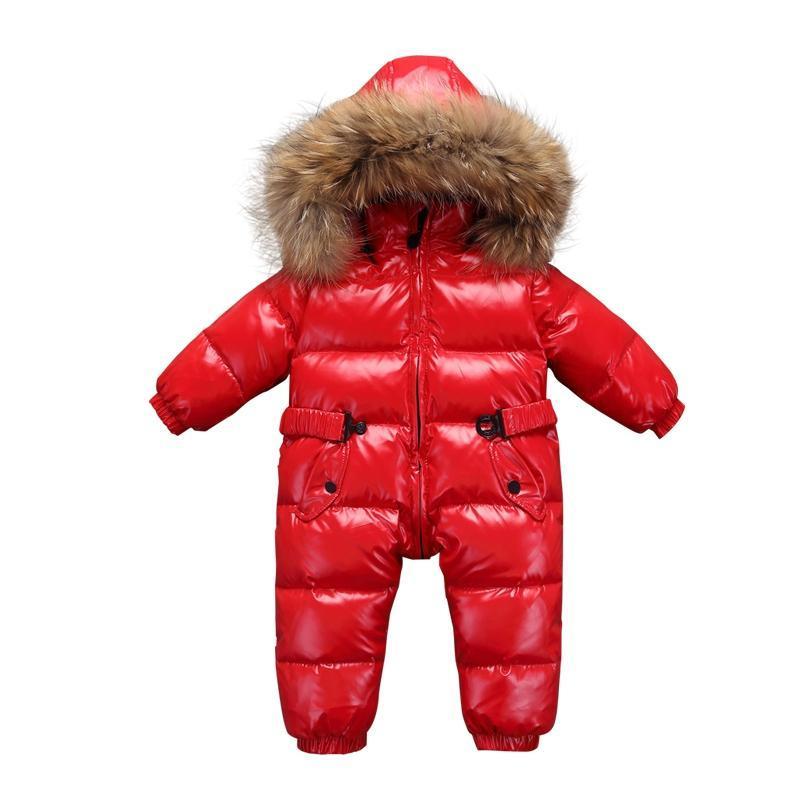الوليد الطفل البدلة الدافئة طوق الطبيعي ملابس دافئة في فصل الشتاء الصبي بانخفاض سترة سترة معطف الشتاء الفتيات طفل معطف الفتيان