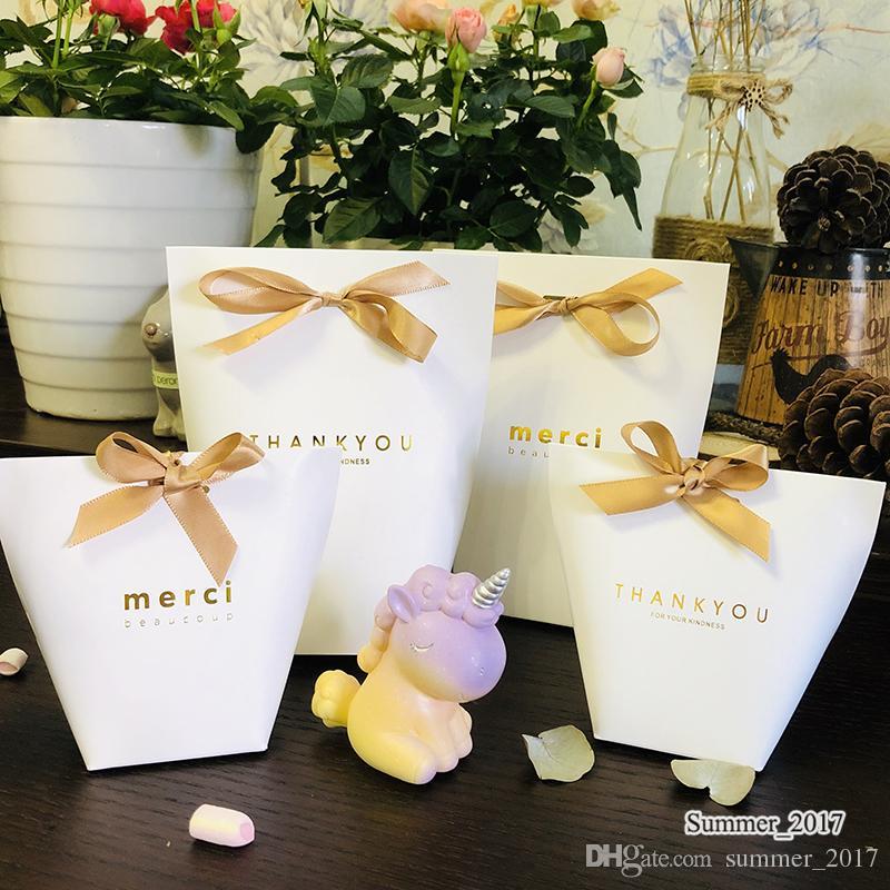 """500pcs Upscale Black White Bronzing """"Merci"""" Saco dos doces franceses agradecem-lhe favores do casamento da festa de aniversário Package Gift Box sacos do favor"""